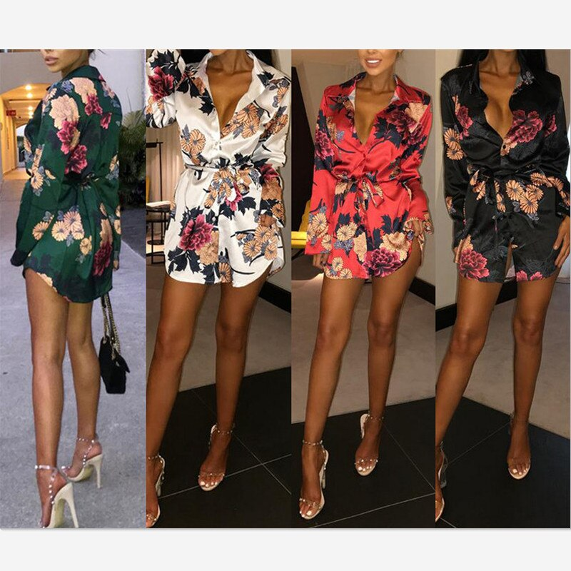 Women Floral Satin Silk Long Sleeve Ladies T Shirt Tops Loose Short Mini Dress Summer Beach Dress