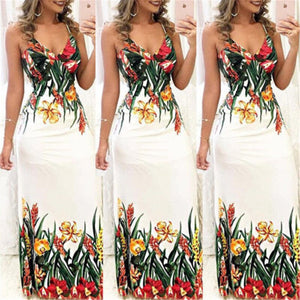 Summer Women Boho Floral Printed Dresses arrival Ladies Sleeveless Party Evening Long Maxi Dress 2018 Suspenders V-neck Dresses