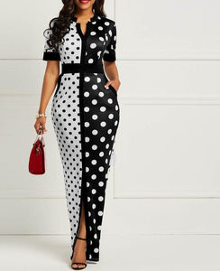 African Dresses for Women Dashiki Polka Dot African Clothes Plus Size Summer White Black Printed Retro Bodycon Long Africa Dress