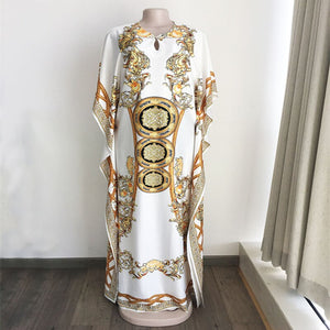 HGTE Lotus Leaf Digital Print Maxi Dress Spring and summer retro style African ladies loose V-neck dress