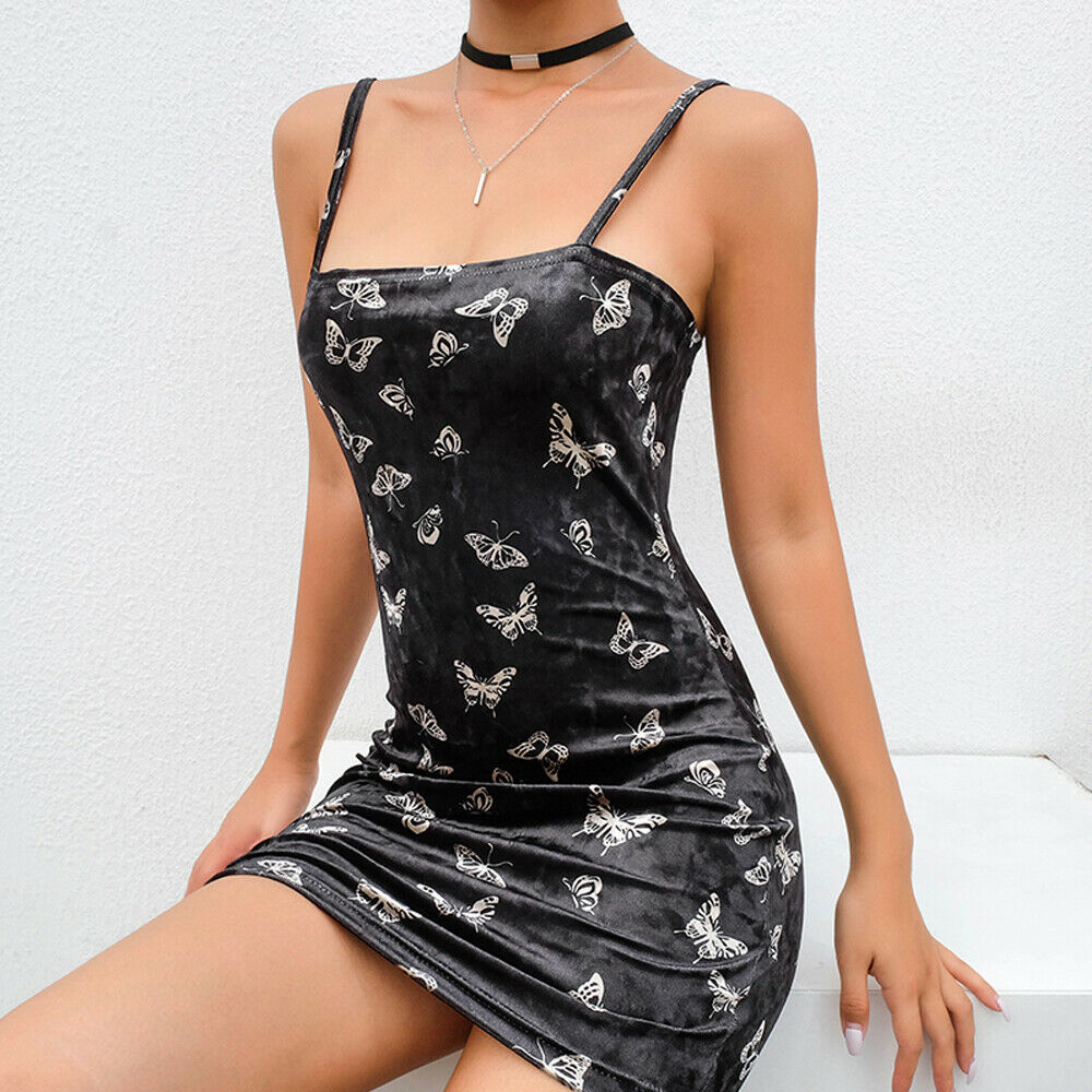 Women Sexy Black Velvet Feel Sleeveless Dress Gossip Animals Printed Sling Sundress Bodycon Mini Pencil Vestidos