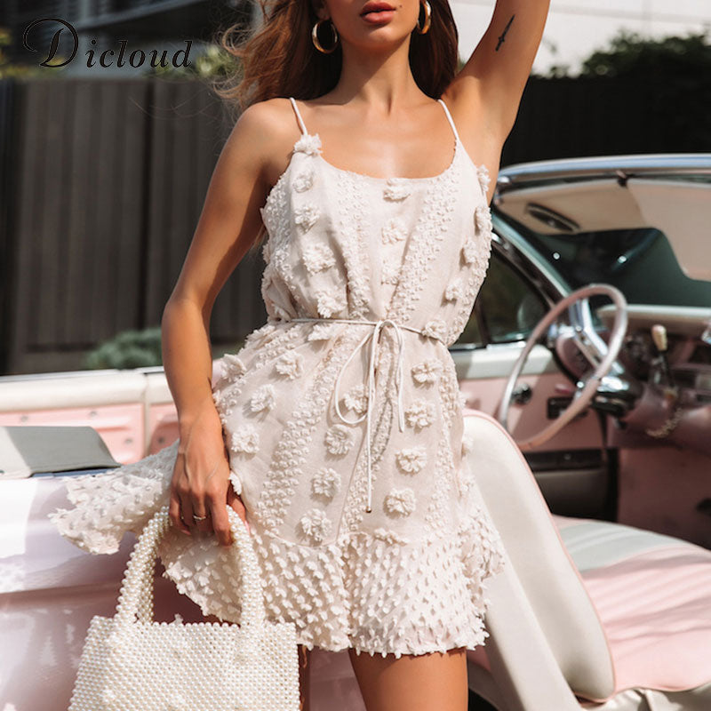 DICLOUD Sexy Spaghetti Strap Ruffles Women Summer Dress Boho Beige Backless Lined Party Beach Sundress Elegant Clothes Ladies
