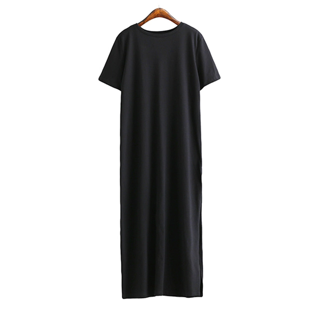 Maxi T Shirt Dress Women Winter Vintage Sexy Bodycon Christmas Green Black White Cotton Long Sleeve Dresses Plus Size Oversized