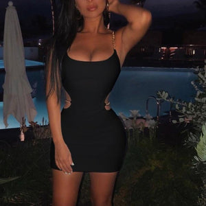Toplook Chains Dress Sexy Women Summer 2019 Spaghetti Strapes Sleeveless Hollow Out Black Mini Dresses Club Party Sundress