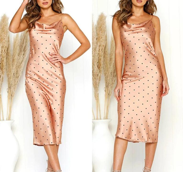 Summer Women Silk Satin Mid-Calf Dresses with Polka Dots Ladies Sleeveless Adjustable Straps Bodycon Dresses Causal Dress