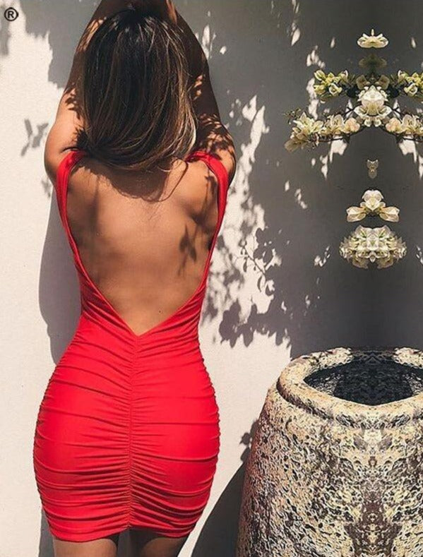 Nadafair Sleeveless Sexy Club Party Backless Bodycon Dress Women Red Black White Orange Ruched Off Shoulder Mini Summer Dress
