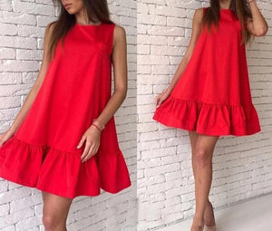 Fashion Female Summer Dress 2019 Casual Club Dress Red Pink Sleeveless Women Dress Vestidos Pleated MiNi Dress Women Clothing