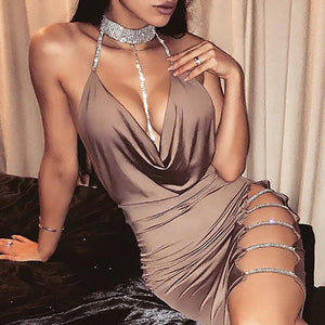 New Women Sexy Halter V neck Night Club Dress Female Solid sleeveless side slip diamonds chic mini dress ladies clubwear party