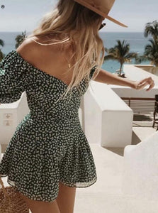 Summer dress 2020 boho korean off shoulder beach dress elegant kawaii green vintage floral sexy v neck mini dress vestidos