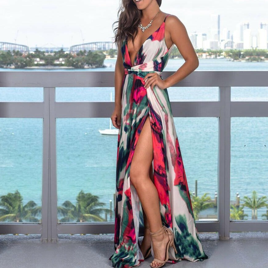 Women's Sling Floral Long Dresses arrival Summer Boho V-Neck Sleeveless Party Beach Floarl Print Maxi Dress Casual Sundress