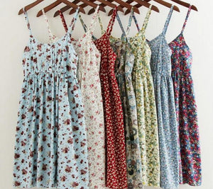 Toppies Women 2019 Summer Floral Printed Beach Dress A-Line Cotton Dress Sexy Backless Mini Dresses Camisole