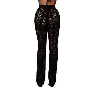 Sibybo Hollow Out Knitted High Waist Sexy Pants Women Fashion Crochet Loose Autumn Trousers Women Cotton Casual Ladies Pants