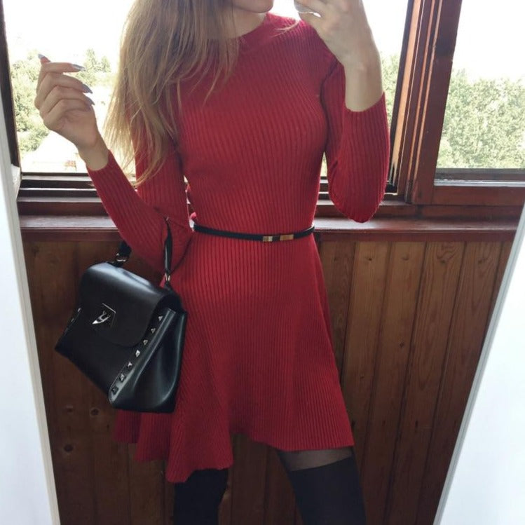 chic Autumn Winter black Sweater Dress Women o-neck Long Sleeve A Line thick Knit mini Dress female girl short bodycon dress