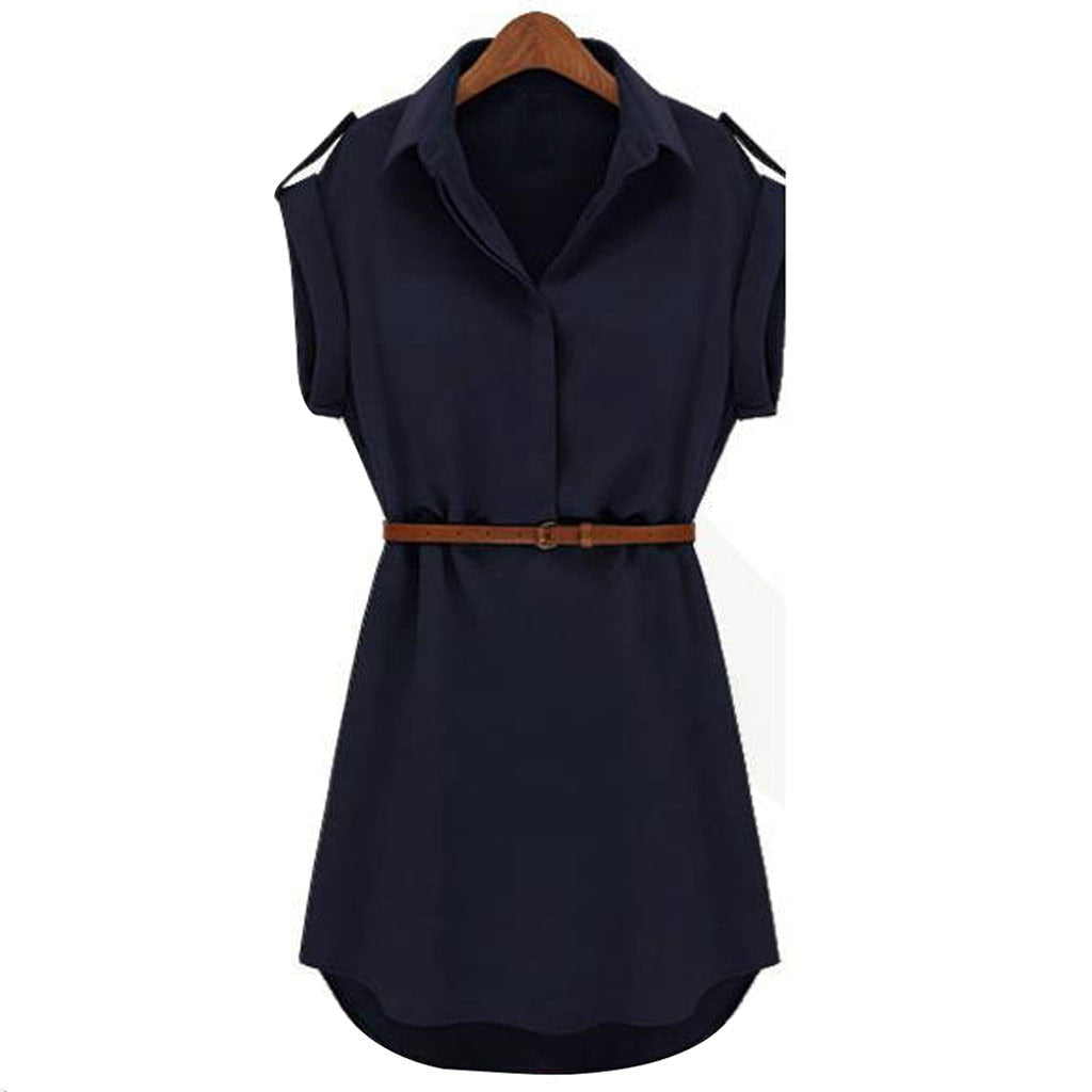 Women Casual Summer Shirt Dress Summer Dress 2019 Loose Short Sleeve Dress With Belt Turn Down Collar Autumn Dress Vestidos #20