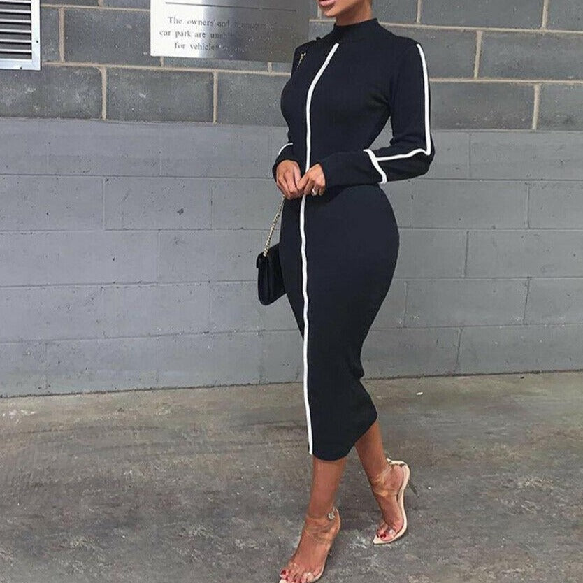 HOT Elegant Summer New Women Long Seeve slim Long Dress Ladies Casual Pencil Dress O Neck Elegant Slim Bodycon Dress