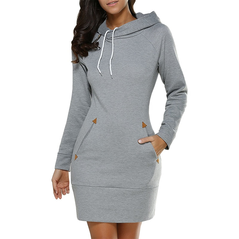 Dress Women S-5XL plus size Hooded casual slim long sleeve autumn solid color pocket mini dresses stock Vestidos EFF6143