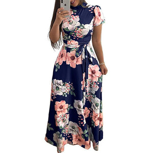 RANLEGE Women Summer Dress 2020 Casual Short Sleeve Long Dress Boho Floral Print Maxi Dress Turtleneck Elegant Dresses Vestido