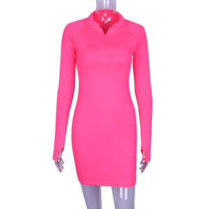 Hugcitar solid long sleeve high neck zipper high waist bodycon sexy stretchy dresses 2018 autumn winter women fashion casual set