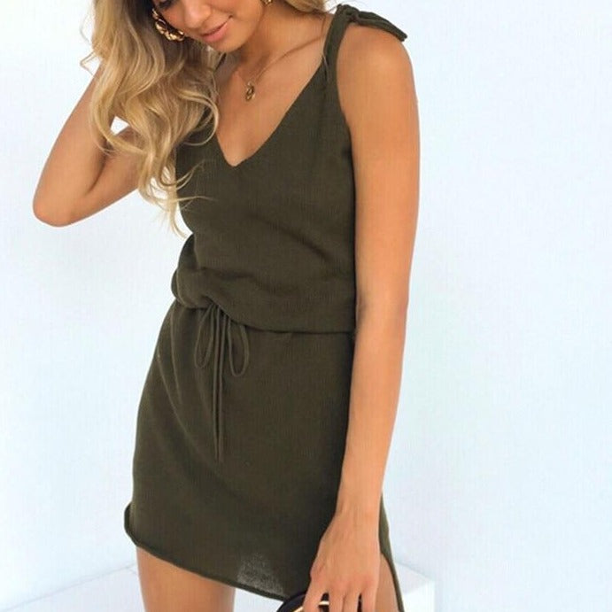 FSDA Mini Casual Dress Backless Solid Slit Wrap Deep V Neck Sashes Spaghetti Strap Sleeveless Sundress Summer Dress Beach Women