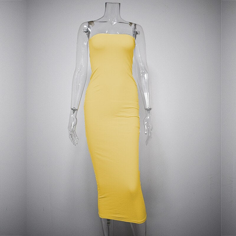 Bangniweigou Sexy Off Shoulder Tube Dress Yellow Women Summer Bodycon Sundress Strapless Stretchy Bandage Long Robe Femme