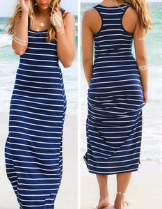 Sexy Lady Womens Hobo Stripe Summer Beach Dress Long Maxi Vest Sundress 3 Colors