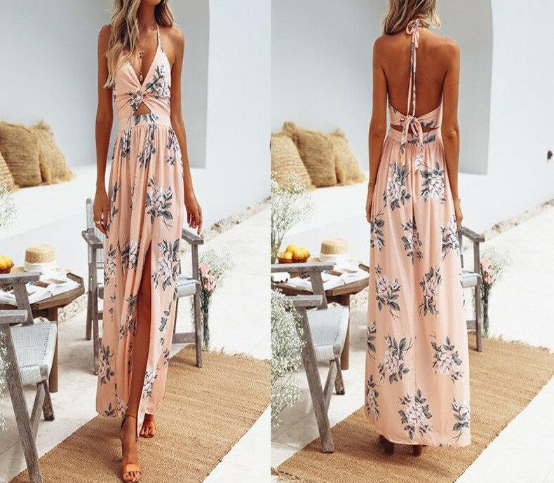 DANJEANE Womens Summer Boho Maxi Long Dress Beach Dresses Sexy V Neck Off Shoulder Floral Halter Dress Backless Bow Vestidos