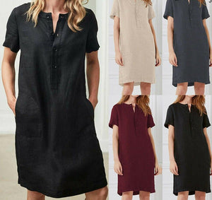 2019 Womens Short Sleeve Button Cotton Linen Ladies Summer Dress Oversize Loose Casual Breasted Pocket Solid Short Dresses