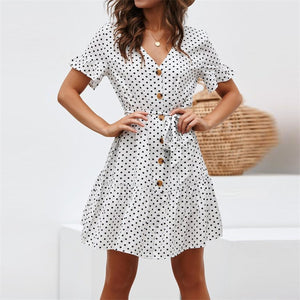 Women Summer Beach Chiffon Dress Casual Short Sleeve Polka Dot Dress Boho Mini Party Dress Elegant V Neck Sundress Vestidos