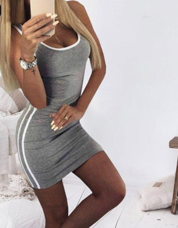 Club Women's Clothes Black Grey Gary Sleeveless Leotard Mini Party Dress Summer Large Size Women's Sticky Dress Vestidos Drop Sh