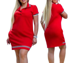 2020 New Fashion Women Polo Dress Big Size 6XL Oversized Above Knee Mini Dresses Work Party Female Elegant Oversized Vestidos