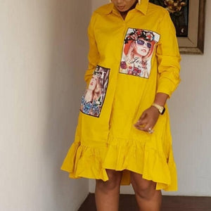Spring Autumn Fashion Yellow Print Pleated Dress Casual Cute Women Beading Shirt Dresses Long Sleeve Plus Size Vestidos