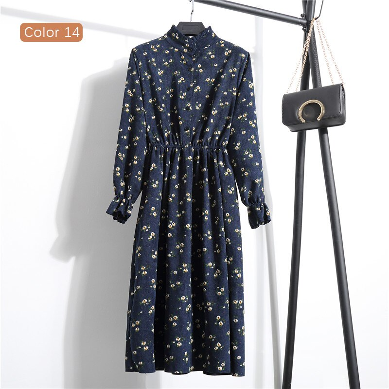 High Elastic Waist Corduroy Vintage Dress A-line Women Full Sleeve Flower Plaid Print Dresses Slim Feminino CRRIFLZ