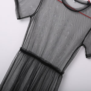 2018 Summer Volie Mesh Dresses Women See Through Black Gauze Mesh Sundress Half Sleeve Lace Sexy Outwear 1-Piece Summer