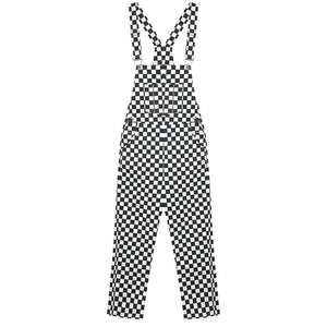 2020 Women Jumpsuit Overall Summer New Fashion Casual Black and White Checkerboard Plaid Loose Bib Female Pants PT307