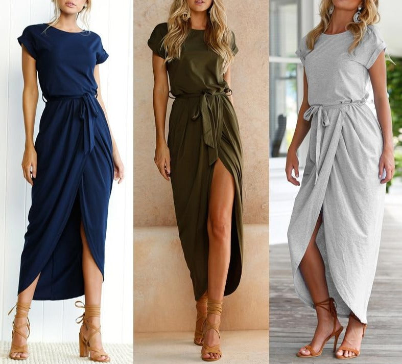 New Sexy Women O-neck Short Sleeve Dresses Tunic Summer Beach Sun Casual Femme Vestidos Lady Clothing Dress