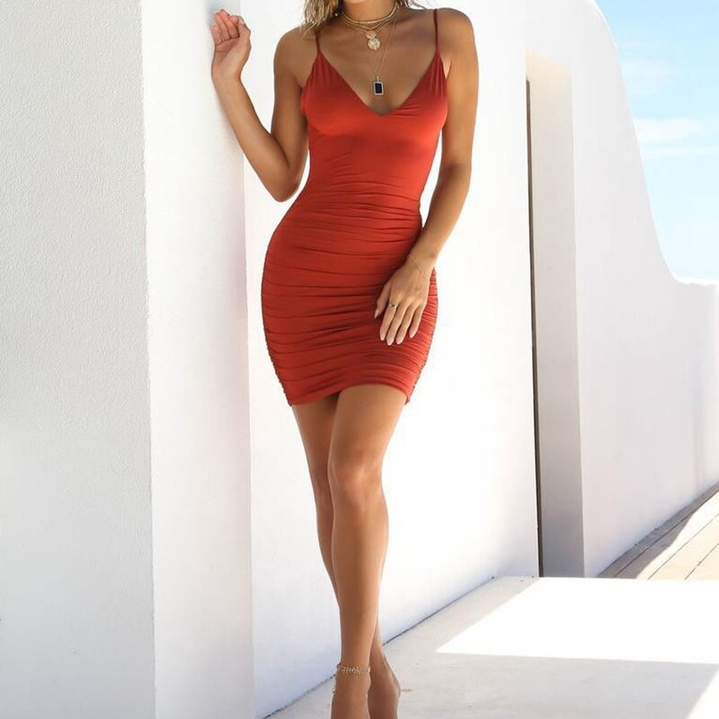 Sexy Womens Summer Backless High Draped Slim Bandage Bodycon Evening Party Short Mini Dress