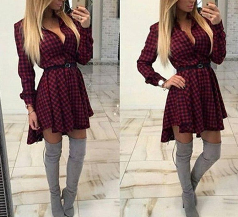 2020 New Dress female Sweet wave point dress Fashion Sexy V-Neck Mini dresses Autumn Long Sleeve Shirt Dresses for women Vestido