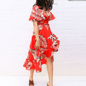 Aachoae Summer Floral Prin Beach Long Dress Women Sexy Deep V Neck Party Dress Short Sleeve Casual Boho Bandage Dress Vestidos