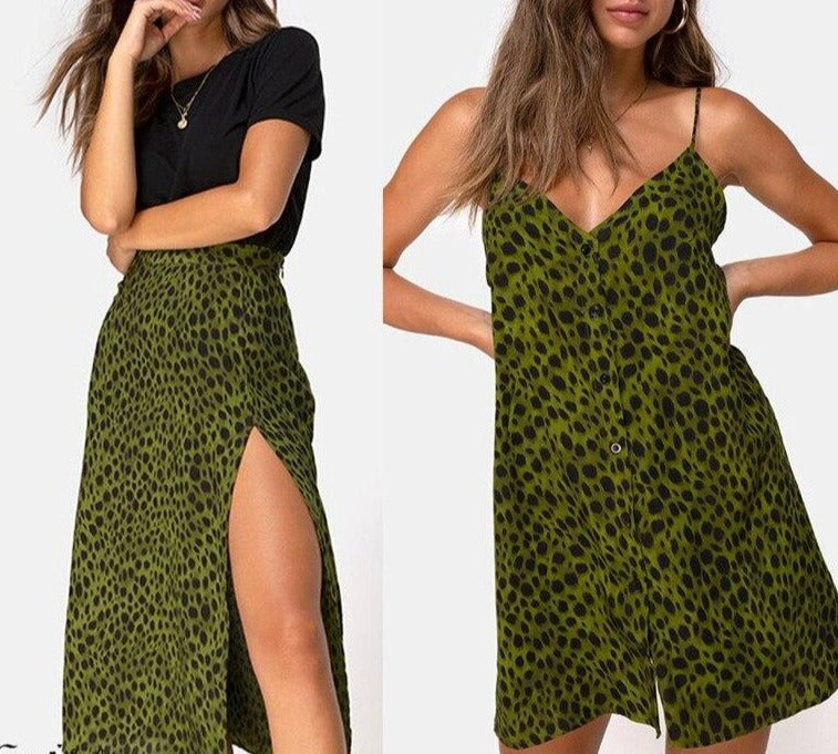 Women Leopard Dress Summer Womens Fashion V-neck Loose Open Leopard Splice Print Button Casual Dress 2019 vestido