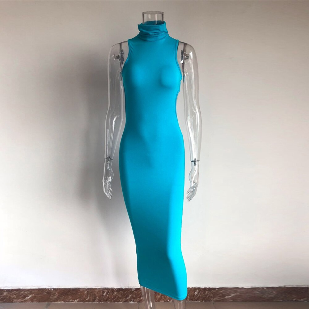 KGFIGU vestidos de verano 2019 Summer Peacock blue maxi long dress Solid High turtle neck Bodycon dresses woman party nightwear