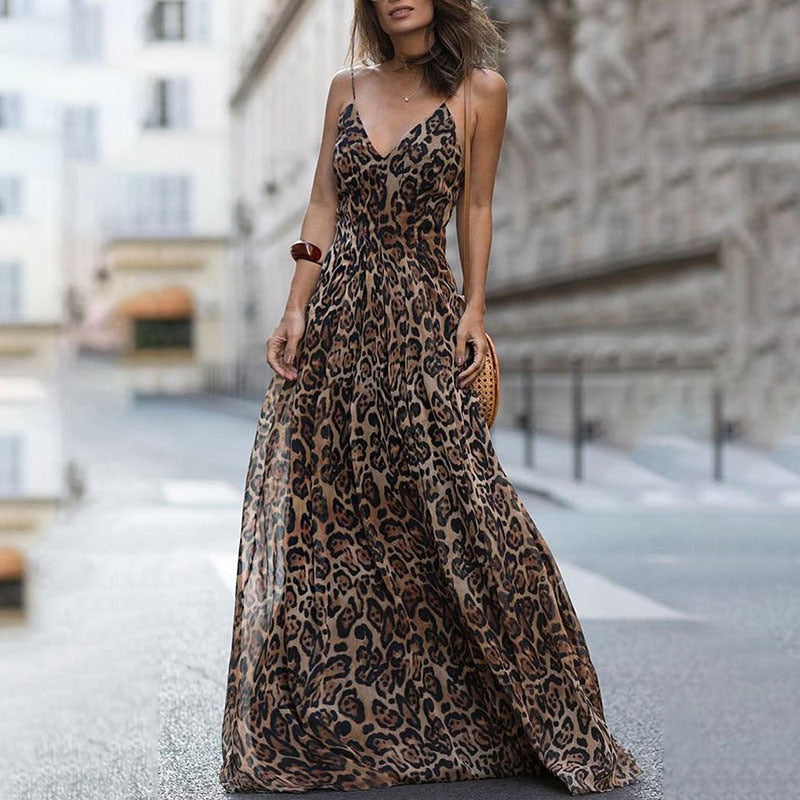 Fashion Sexy Dress Leopard V-Neck Sling Dress Maxi Dresses Women Summer Sleeveless Chiffon Beach Long Dress Robe Tops Dress