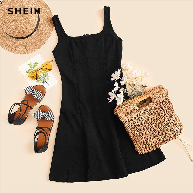 SHEIN Black Fit And Flare Solid Dress Elegant Straps Sleeveless Plain A Line Dresses Women Summer Autumn Zipper Short Dress