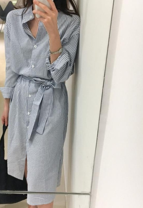 Colorfaith 2019 Women Dresses Spring Autumn Elegant Casual Striped Shirt Dress Cotton and Linen Lace Up Single Breated DR1800