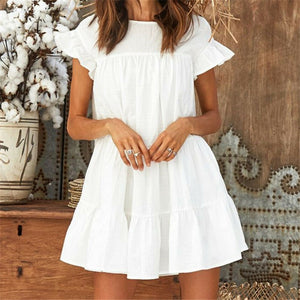 Women Summer Casual Loose Boho Cute Layered Solid Dress Cocktail Party Beach Dresses Sundress Cascading Ruffles White Mini Dress