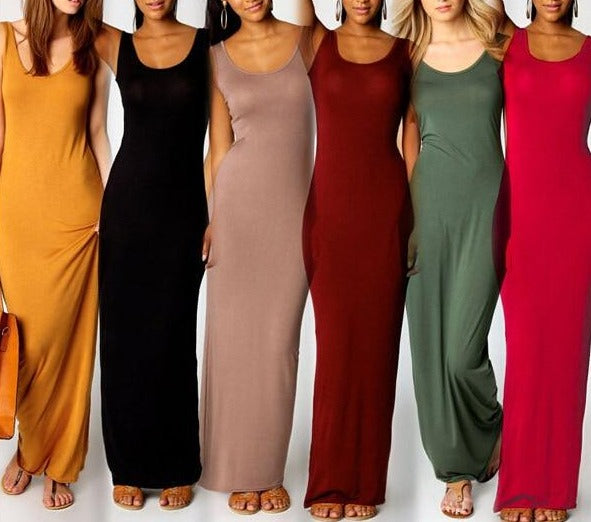 High Stretch Tank Robe Spring Summer Thin Long Dress Vestidos 2018 Elegant Women Sexy Dress O-neck Sleeveless Slim Maxi Dress