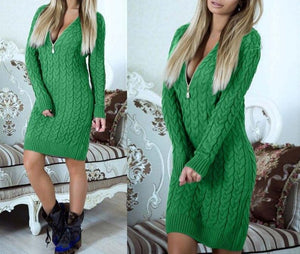 Mini Fashion Zip-up Zipper 2019 Autumn Winter Sweater Dress Sexy V Neck Knit Dresses Warm Bodycon Women Dress New GV101