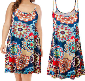 MISSOMO Plus Size 5XL Women Casual Printed Sleeveless Above Knee Mini Dress summer dress Sundress beach dress Party vestidos