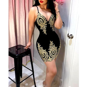Women's Slim Print Fashion Sling Spaghetti Bodycon Lace Strappy Ladies Evening Party Mini Short Dress Size S-XL V Neck