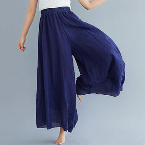 #0605Cotton Linen Wide Leg Pants Women Large Size Elastic High Waist Beach Full Length Trousers Female Retro Loose Spring Summer