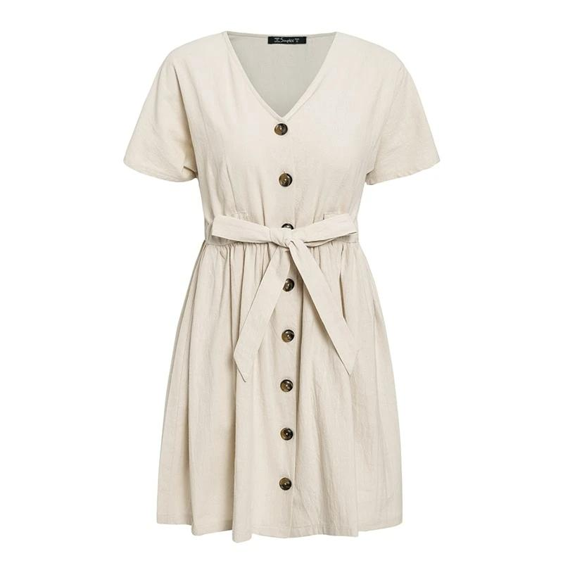 Simplee Vintage buttons women dress shirt V neck short sleeve cotton linen short summer office dresses Casual korean vestidos